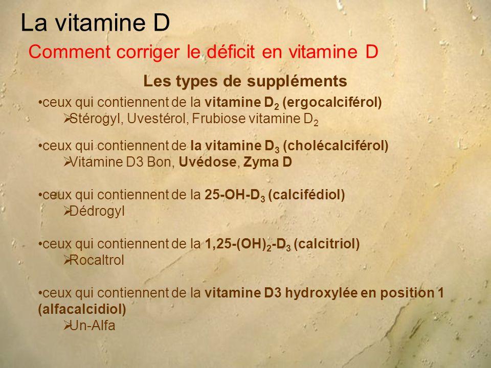 La vitamine D Les types de suppléments Comment corriger le déficit en vitamine D ceux qui contiennent de la vitamine D 2 (ergocalciférol)  Stérogyl,