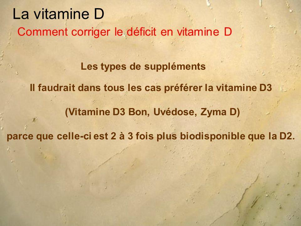 La vitamine D Les types de suppléments Comment corriger le déficit en vitamine D Il faudrait dans tous les cas préférer la vitamine D3 (Vitamine D3 Bon, Uvédose, Zyma D) parce que celle-ci est 2 à 3 fois plus biodisponible que la D2.