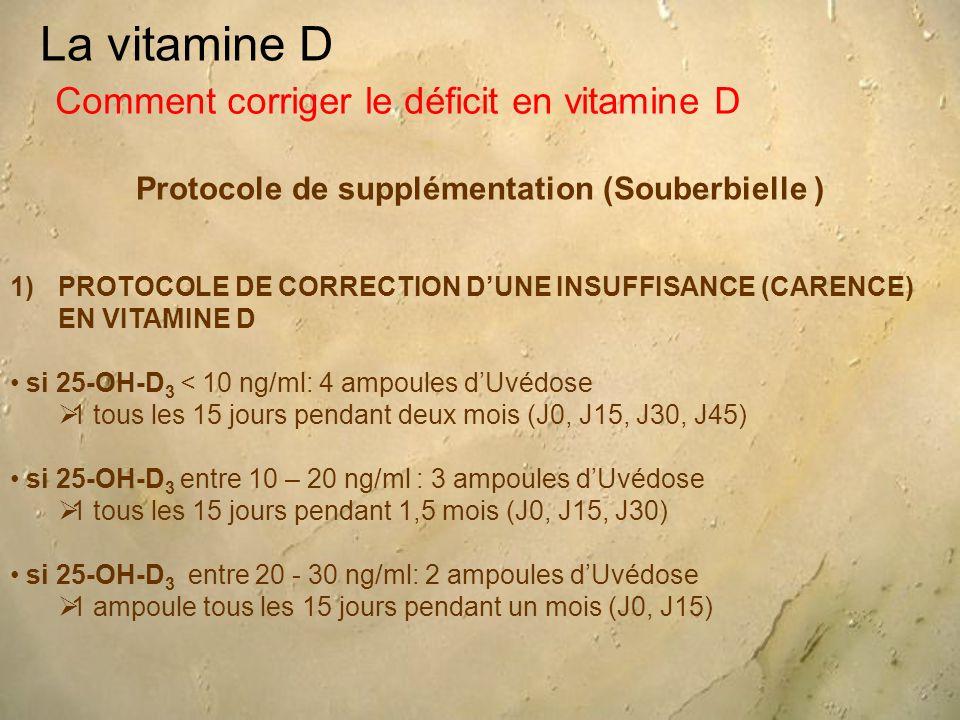 La vitamine D Protocole de supplémentation (Souberbielle ) Comment corriger le déficit en vitamine D 1)PROTOCOLE DE CORRECTION D'UNE INSUFFISANCE (CARENCE) EN VITAMINE D si 25-OH-D 3 < 10 ng/ml: 4 ampoules d'Uvédose  1 tous les 15 jours pendant deux mois (J0, J15, J30, J45) si 25-OH-D 3 entre 10 – 20 ng/ml : 3 ampoules d'Uvédose  1 tous les 15 jours pendant 1,5 mois (J0, J15, J30) si 25-OH-D 3 entre 20 - 30 ng/ml: 2 ampoules d'Uvédose  1 ampoule tous les 15 jours pendant un mois (J0, J15)