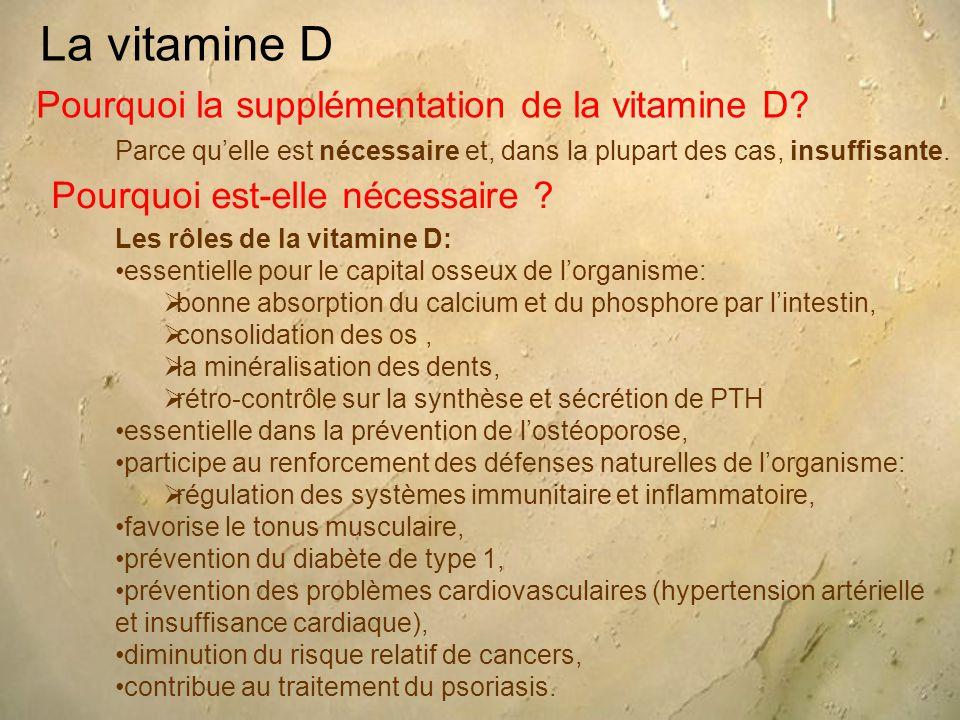 La vitamine D Pourquoi la supplémentation de la vitamine D? Parce qu'elle est nécessaire et, dans la plupart des cas, insuffisante. Pourquoi est-elle