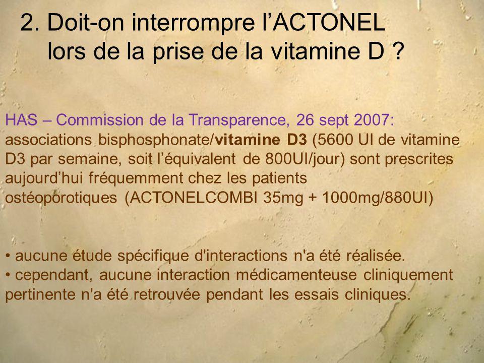 2. Doit-on interrompre l'ACTONEL lors de la prise de la vitamine D ? HAS – Commission de la Transparence, 26 sept 2007: associations bisphosphonate/vi
