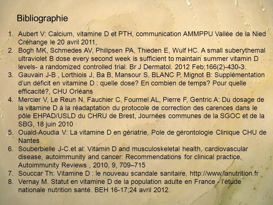 1.Aubert V: Calcium, vitamine D et PTH, communication AMMPPU Vallée de la Nied Créhange le 20 avril 2011, 2.Bogh MK, Schmedes AV, Philipsen PA, Thiede