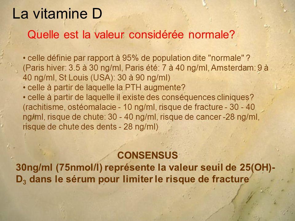 La vitamine D CONSENSUS 30ng/ml (75nmol/l) représente la valeur seuil de 25(OH)- D 3 dans le sérum pour limiter le risque de fracture Quelle est la va