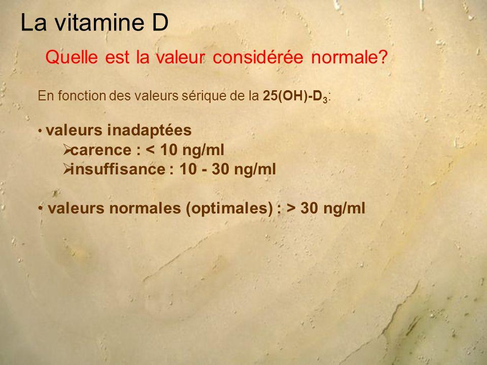 La vitamine D Quelle est la valeur considérée normale? En fonction des valeurs sérique de la 25(OH)-D 3 : valeurs inadaptées  carence : < 10 ng/ml 