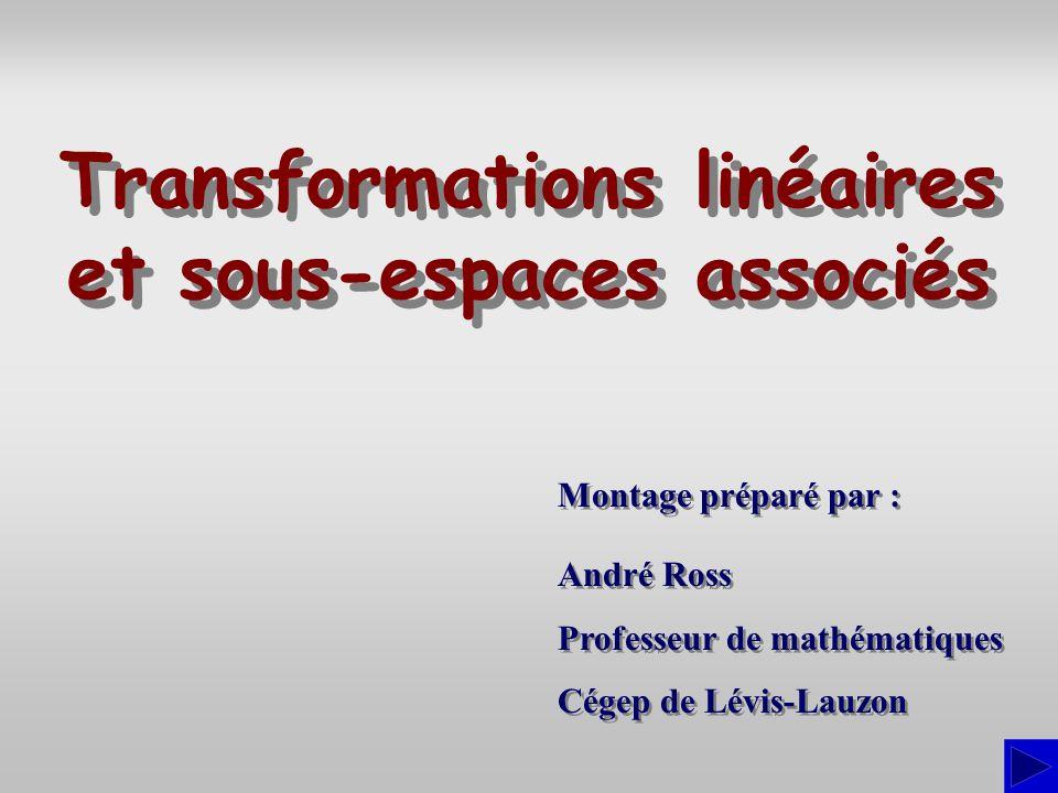 Composition de transformations linéaires Soit U, V et W, trois espaces vectoriels sur un corps K, T:U  V et S : V  W, deux transformations linéaires.
