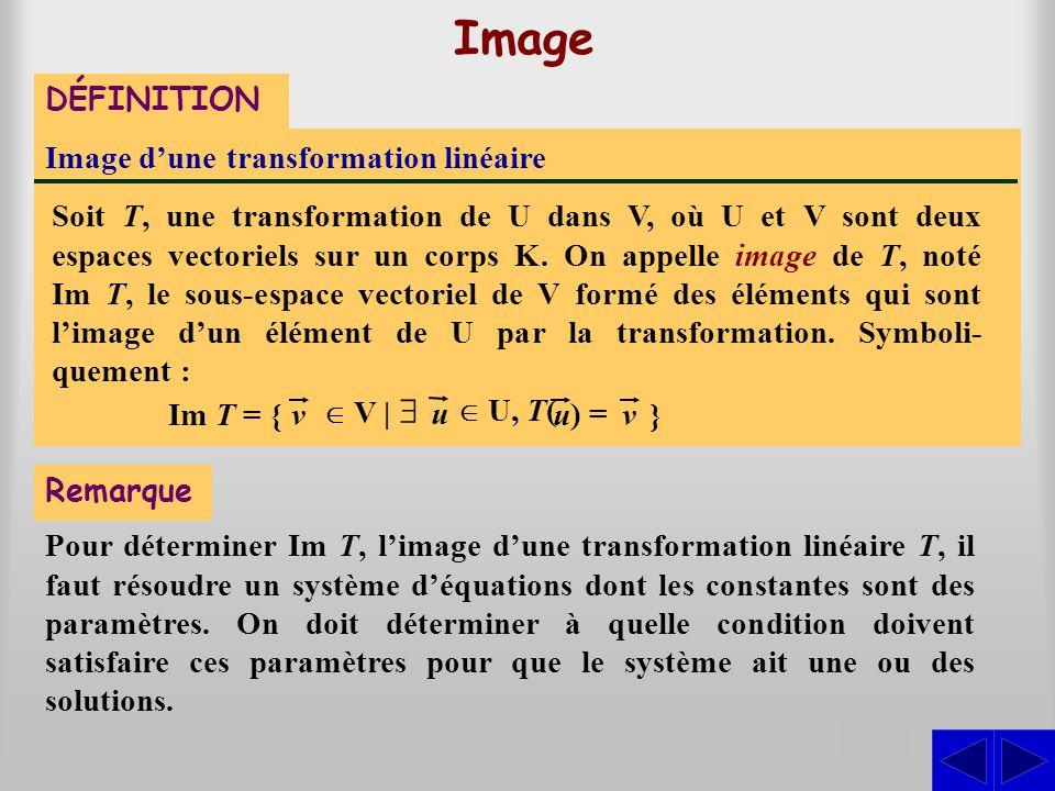 Pour déterminer Im T, l'image d'une transformation linéaire T, il faut résoudre un système d'équations dont les constantes sont des paramètres. On doi