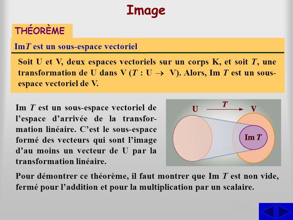 ImT est un sous-espace vectoriel Soit U et V, deux espaces vectoriels sur un corps K, et soit T, une transformation de U dans V (T : U  V). Alors,