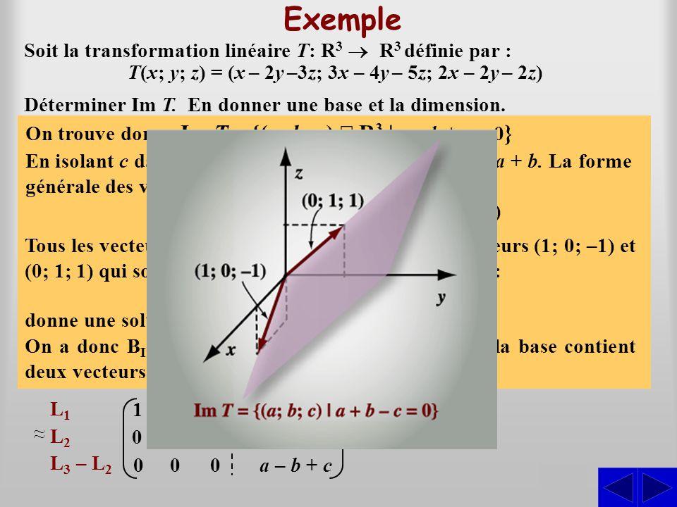 Exemple S Soit la transformation linéaire T: R 3  R 3 définie par : T(x; y; z) = (x – 2y –3z; 3x – 4y – 5z; 2x – 2y – 2z) On cherche les triplets (