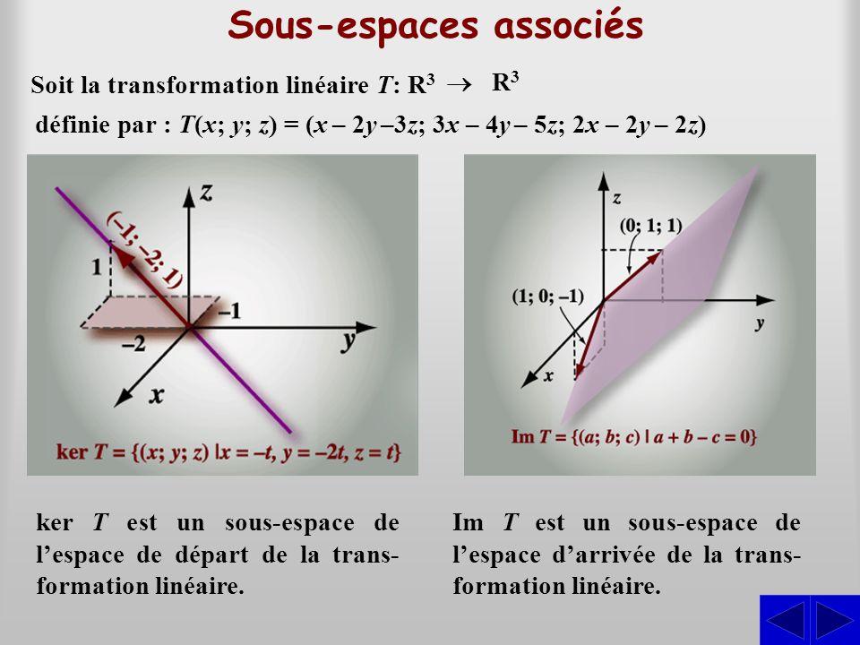 Sous-espaces associés ker T est un sous-espace de l'espace de départ de la trans- formation linéaire. Im T est un sous-espace de l'espace d'arrivée de