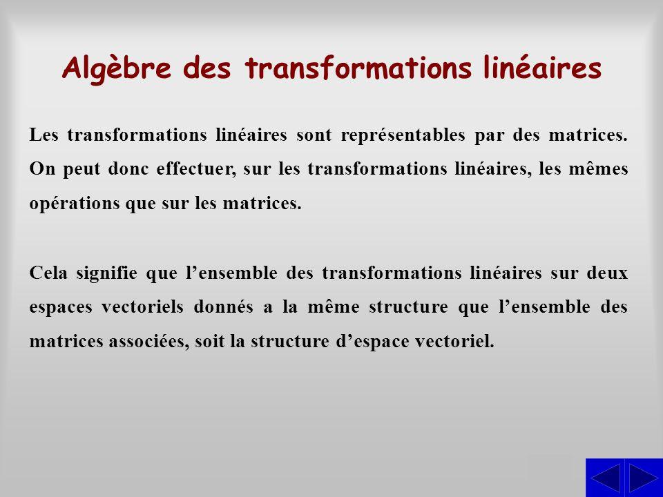 Algèbre des transformations linéaires S Les transformations linéaires sont représentables par des matrices. On peut donc effectuer, sur les transforma