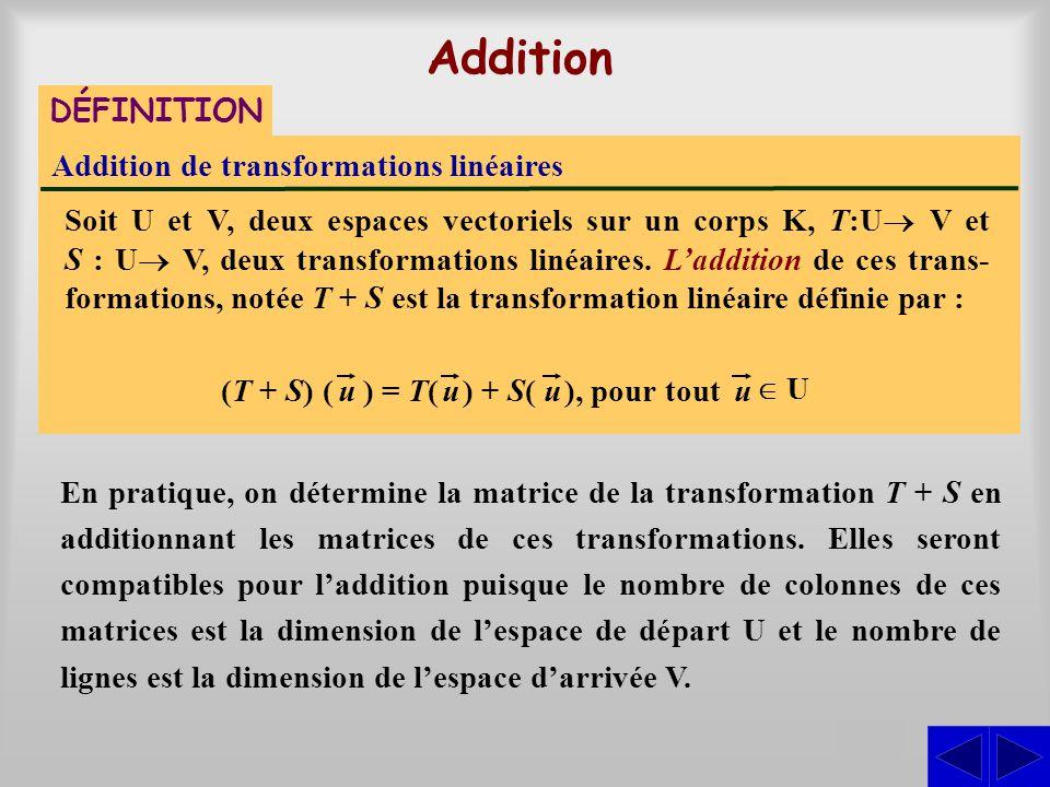 Addition de transformations linéaires Soit U et V, deux espaces vectoriels sur un corps K, T:U  V et S : U  V, deux transformations linéaires. L'a