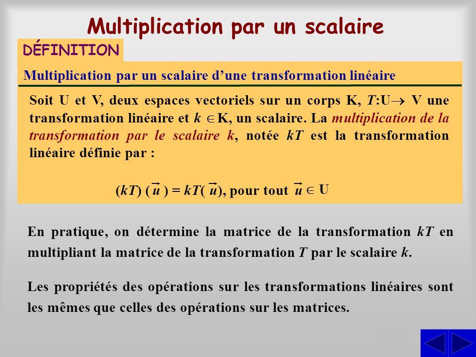 Multiplication par un scalaire d'une transformation linéaire Soit U et V, deux espaces vectoriels sur un corps K, T:U  V une transformation linéaire