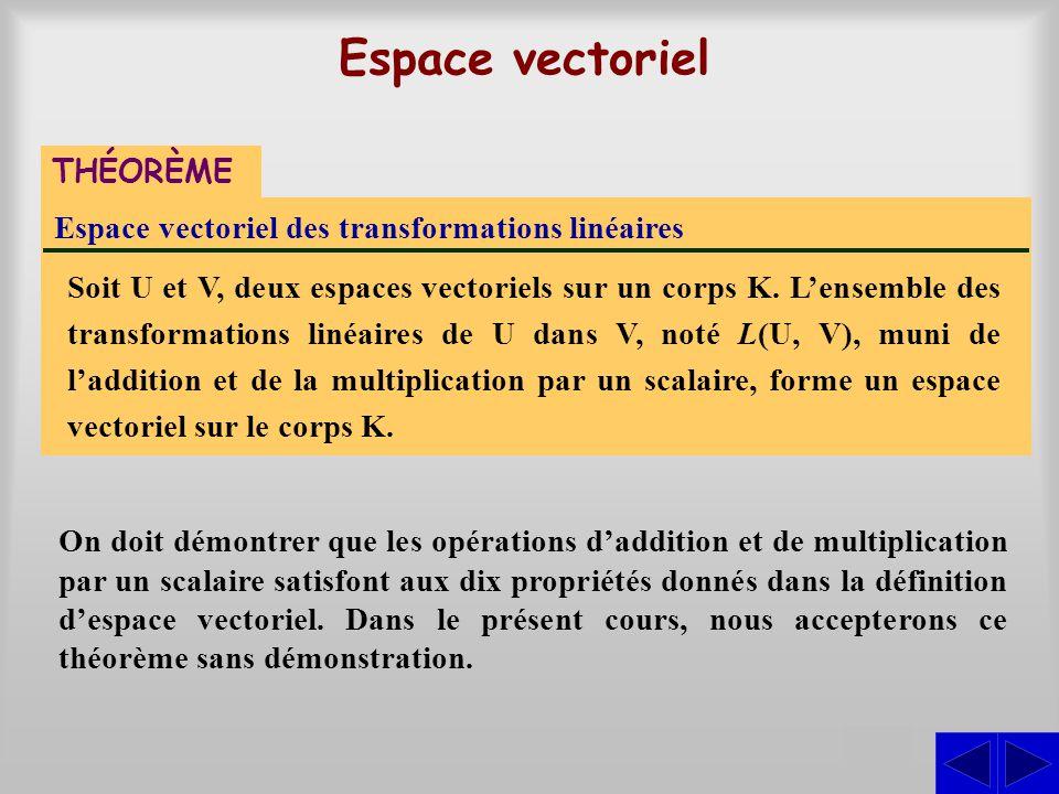 Espace vectoriel des transformations linéaires Soit U et V, deux espaces vectoriels sur un corps K. L'ensemble des transformations linéaires de U dans