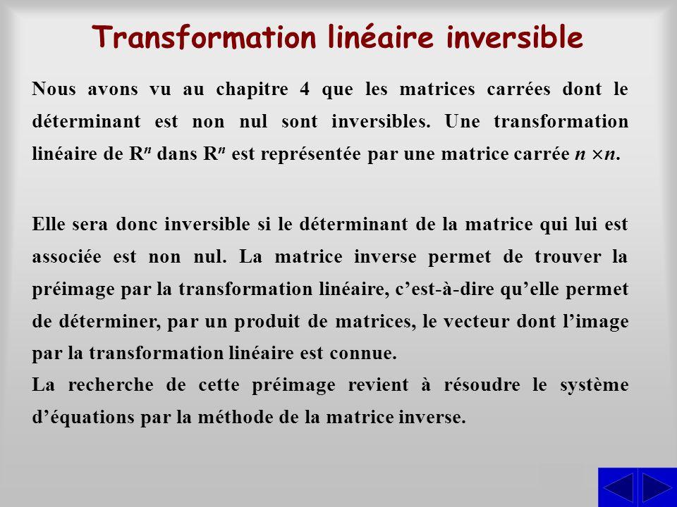 Transformation linéaire inversible S Nous avons vu au chapitre 4 que les matrices carrées dont le déterminant est non nul sont inversibles. Une transf