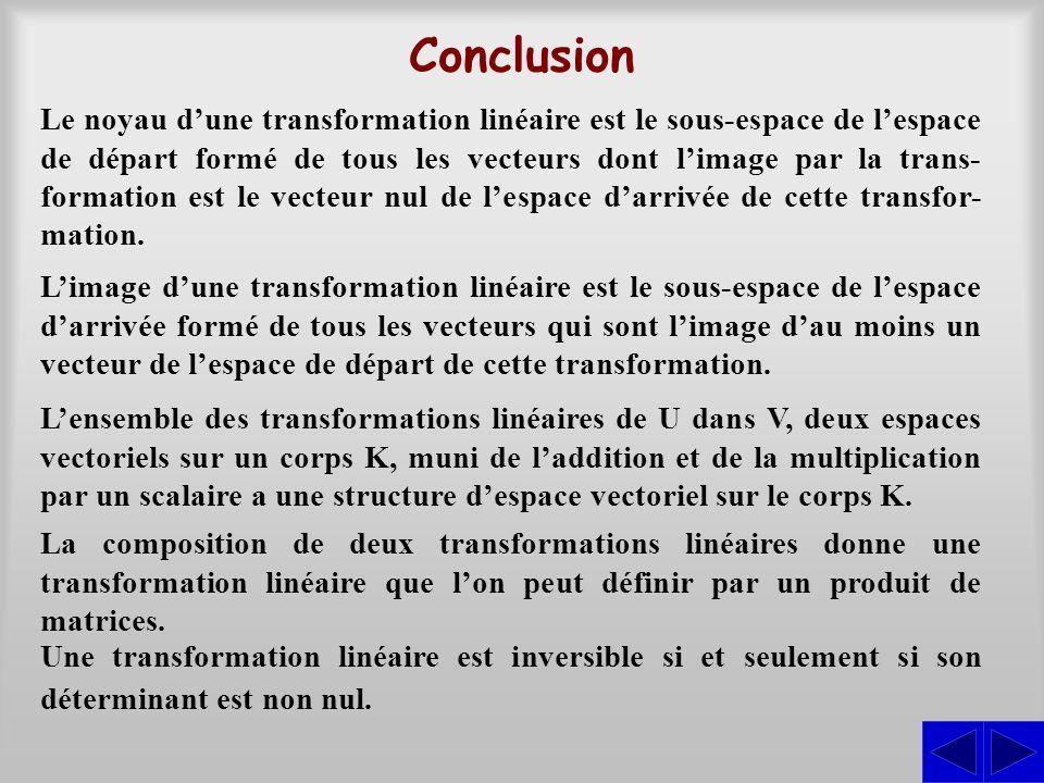 Conclusion Le noyau d'une transformation linéaire est le sous-espace de l'espace de départ formé de tous les vecteurs dont l'image par la trans- forma