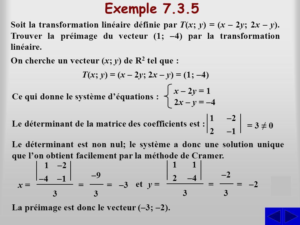 Exemple 7.3.5 S Soit la transformation linéaire définie par T(x; y) = (x – 2y; 2x – y). Trouver la préimage du vecteur (1; –4) par la transformation l