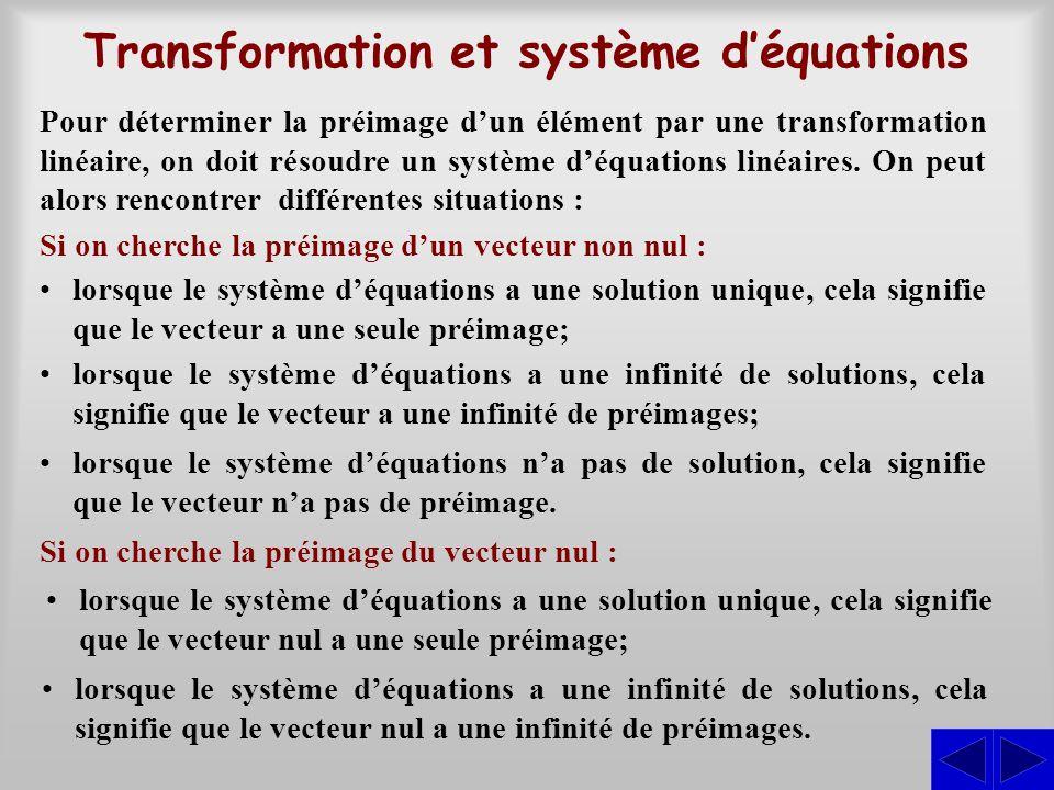 Exercice S Soit la transformation linéaire T: R 3  R 3 définie par : T(x; y; z) = (x – 3y – z; 2x – 4y + 2z; 5x – 11y + 3z) On cherche (x; y; z) dans l'espace vectoriel de départ tel que : T(x; y; z) = (0; 0; 0), d'où : Par la méthode de Gauss-Jordan, on obtient : ≈ L 1 L 2 – 2L 1 L 3 – 5L 1 S x – 3y – z = 0 2x – 4y + 2z = 0 5x – 11y + 3z = 0 2–42 0 1–3–1 0 5–113 0 1 0 –3 2 –1 4 0 0 048 0 ≈ 2L 1 + 3L 2 L 2 L 3 – 2L 2 2 0 0 2 10 4 0 0 0000 ≈ L 1 /2 L 2 /2 L 3 1 0 0 1 5 2 0 0 0000 On trouve donc : ker T = {(x; y; z)  R 3   x = –5t, y = –2t et z = t} Les éléments de ker T sont les vecteurs de la forme générale : (–5t; –2t; t) = t(–5; –2; 1) Tous les vecteurs de ker T sont engendrés par (–5; –2; 1) et ce vecteur est linéairement indépendant, puisqu'il est non nul.