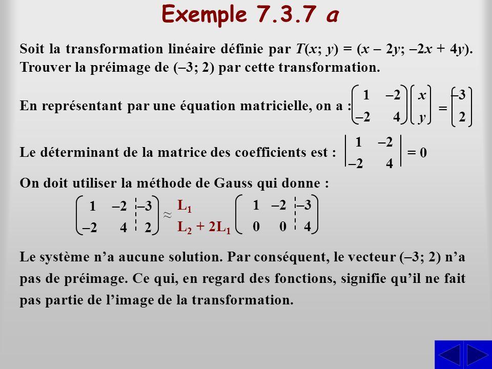 Exemple 7.3.7 a Soit la transformation linéaire définie par T(x; y) = (x – 2y; –2x + 4y). Trouver la préimage de (–3; 2) par cette transformation. En