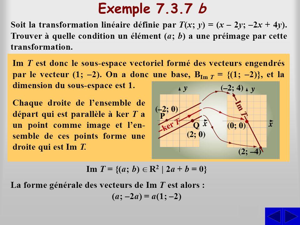 Exemple 7.3.7 b S Soit la transformation linéaire définie par T(x; y) = (x – 2y; –2x + 4y). Trouver à quelle condition un élément (a; b) a une préimag
