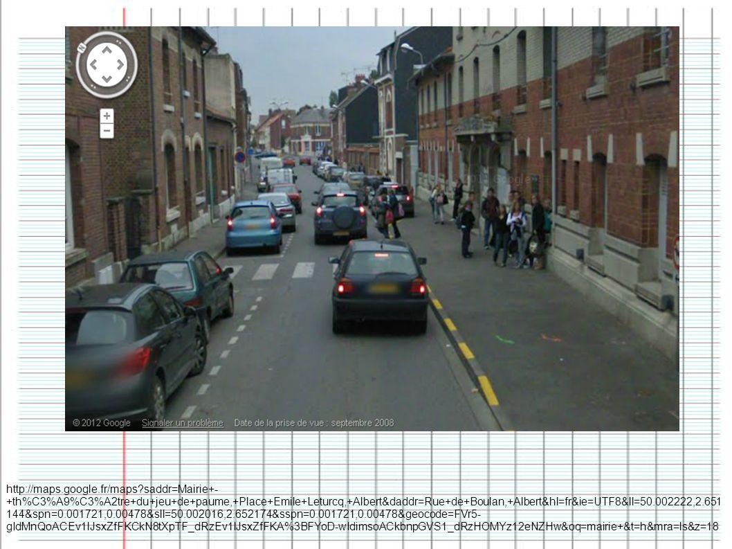 http://maps.google.fr/maps?saddr=Mairie+- +th%C3%A9%C3%A2tre+du+jeu+de+paume,+Place+Emile+Leturcq,+Albert&daddr=Rue+de+Boulan,+Albert&hl=fr&ie=UTF8&ll