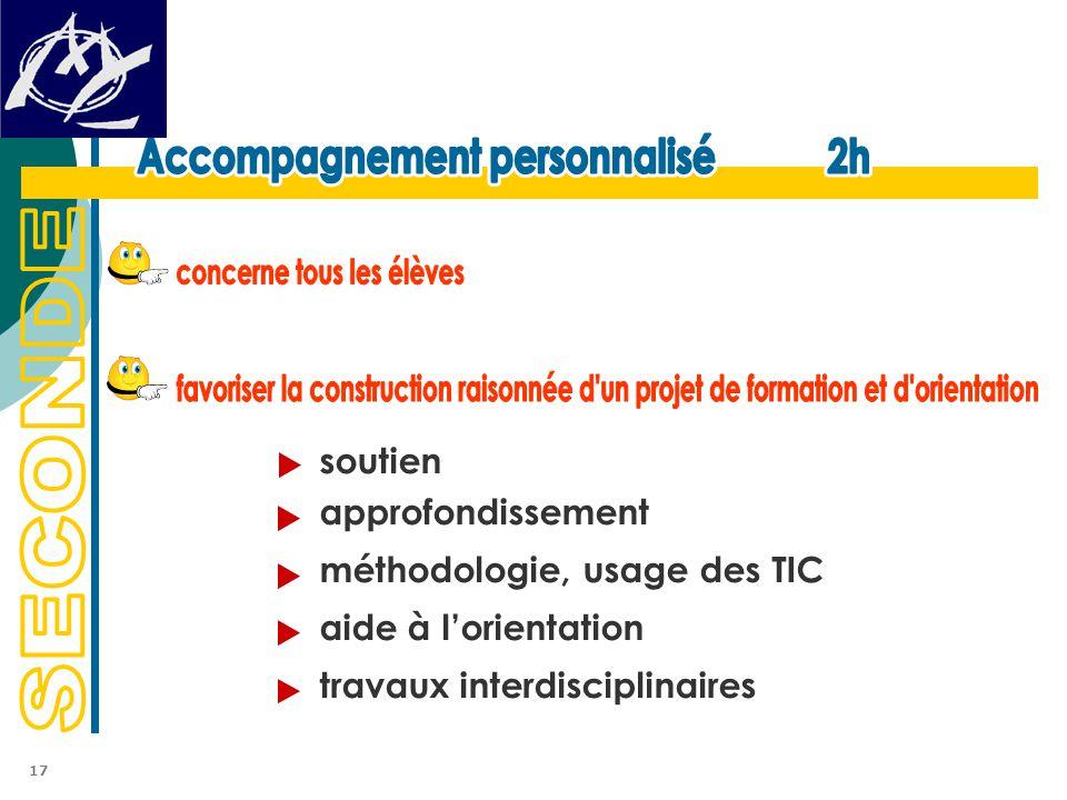 soutien approfondissement méthodologie, usage des TIC aide à l'orientation travaux interdisciplinaires 17