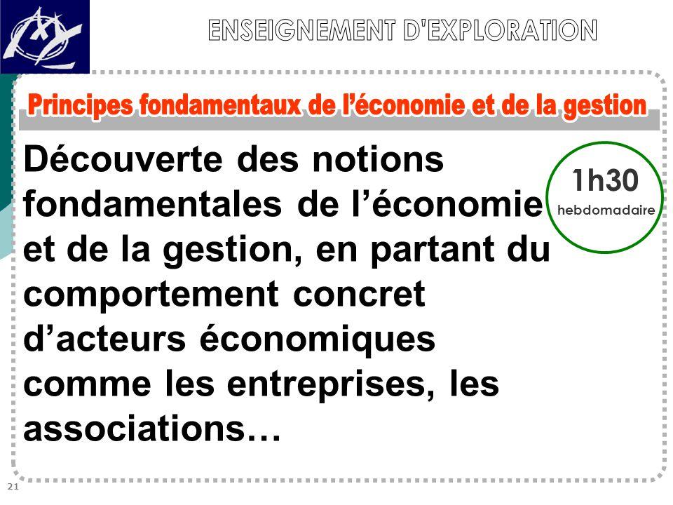 Découverte des notions fondamentales de l'économie et de la gestion, en partant du comportement concret d'acteurs économiques comme les entreprises, les associations… 1h30 hebdomadaire 21