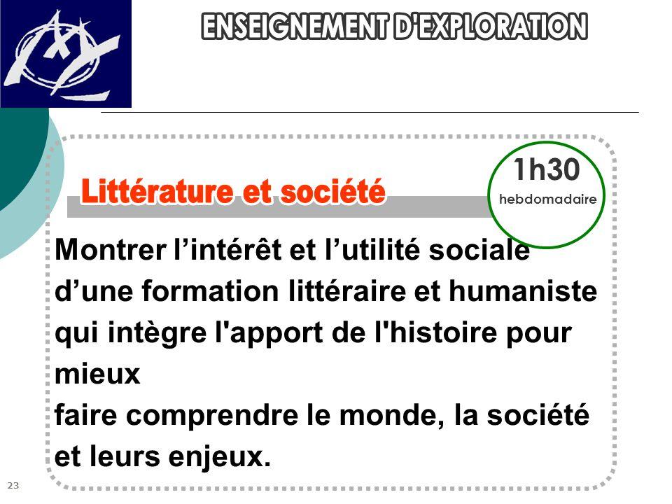 Montrer l'intérêt et l'utilité sociale d'une formation littéraire et humaniste qui intègre l apport de l histoire pour mieux faire comprendre le monde, la société et leurs enjeux.
