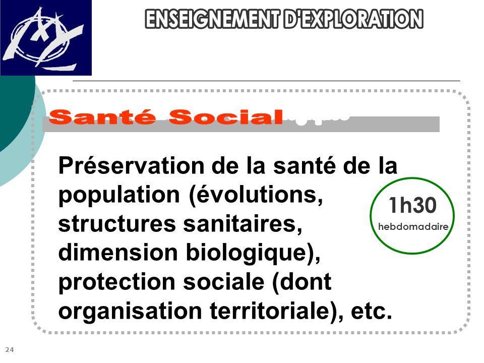 1h30 hebdomadaire Préservation de la santé de la population (évolutions, structures sanitaires, dimension biologique), protection sociale (dont organisation territoriale), etc.