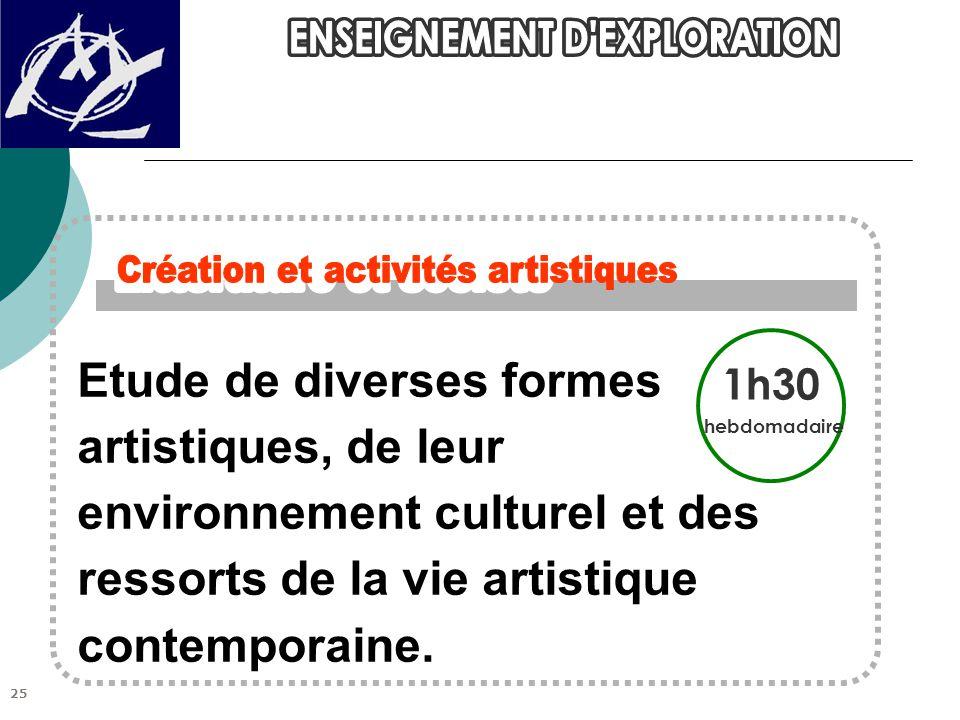 Etude de diverses formes artistiques, de leur environnement culturel et des ressorts de la vie artistique contemporaine. 1h30 hebdomadaire 25