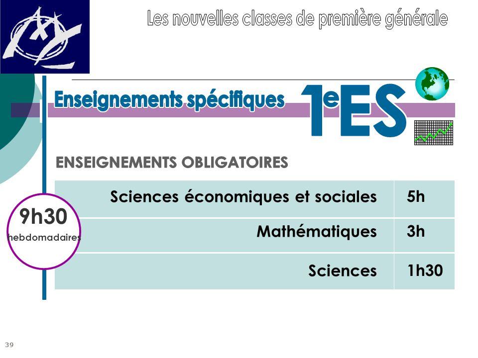 5h 3h 1h30 Sciences économiques et sociales Mathématiques Sciences 9h30 hebdomadaires 39