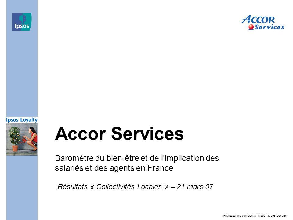Privileged and confidential © 2007 Ipsos-Loyalty Accor Services Baromètre du bien-être et de l'implication des salariés et des agents en France Résultats « Collectivités Locales » – 21 mars 07