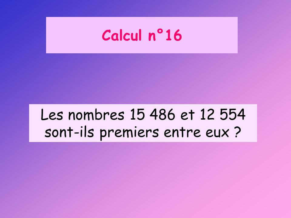 Calcul n°16 Les nombres 15 486 et 12 554 sont-ils premiers entre eux ?