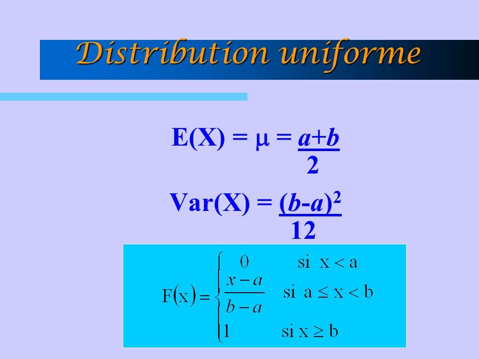 E(X) =  = a+b 2 Var(X) = (b-a) 2 12 Distribution uniforme
