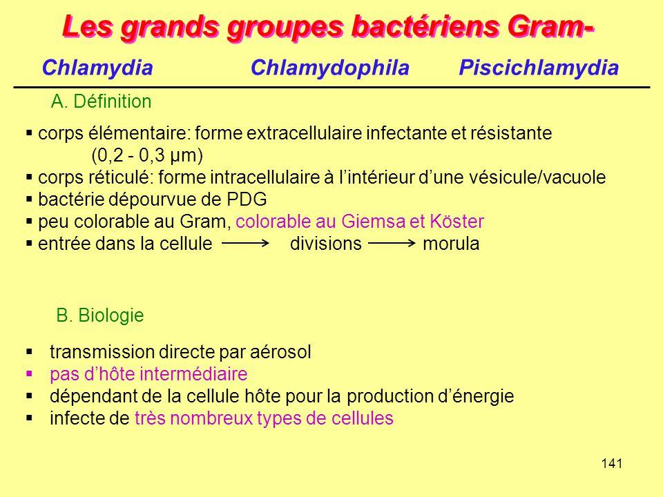 141 Les grands groupes bactériens Gram-  transmission directe par aérosol  pas d'hôte intermédiaire  dépendant de la cellule hôte pour la productio