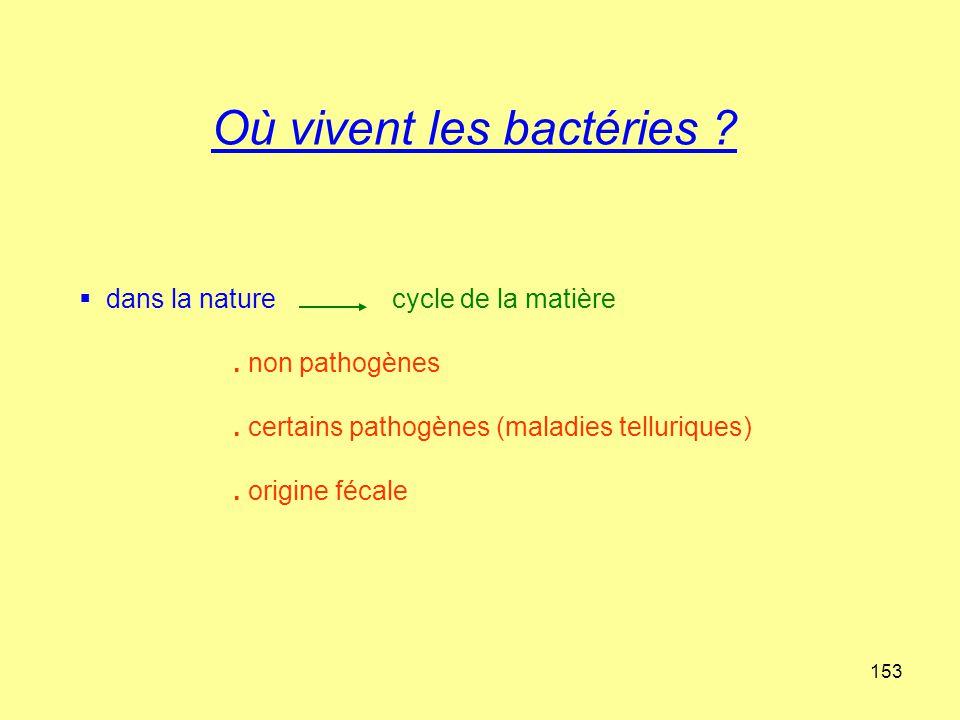 153 Où vivent les bactéries ?  dans la nature cycle de la matière. non pathogènes. certains pathogènes (maladies telluriques). origine fécale