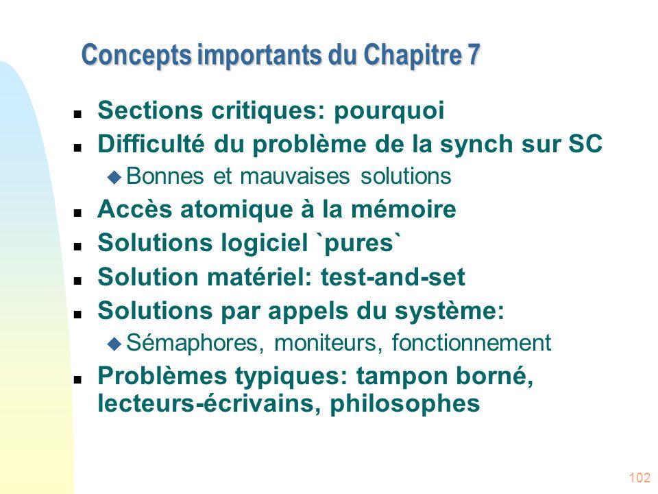 102 Concepts importants du Chapitre 7 n Sections critiques: pourquoi n Difficulté du problème de la synch sur SC u Bonnes et mauvaises solutions n Acc