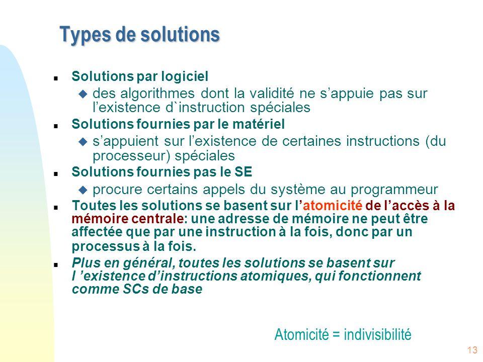 13 Types de solutions n Solutions par logiciel u des algorithmes dont la validité ne s'appuie pas sur l'existence d`instruction spéciales n Solutions