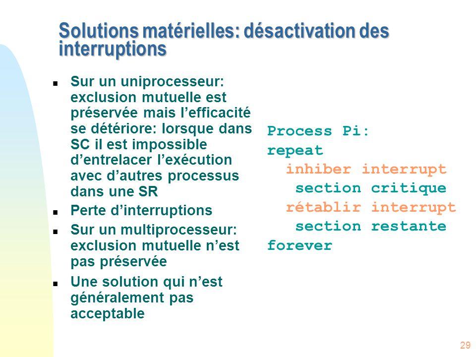 29 Solutions matérielles: désactivation des interruptions n Sur un uniprocesseur: exclusion mutuelle est préservée mais l'efficacité se détériore: lor
