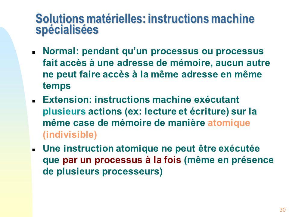 30 Solutions matérielles: instructions machine spécialisées n Normal: pendant qu'un processus ou processus fait accès à une adresse de mémoire, aucun