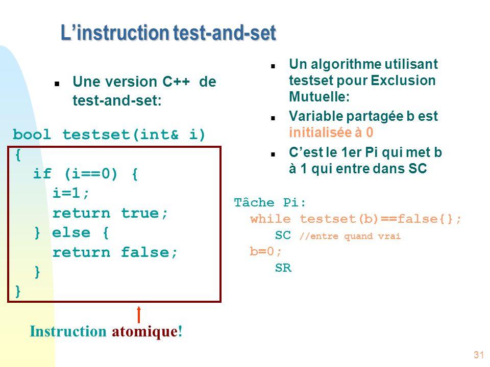 31 L'instruction test-and-set n Une version C++ de test-and-set: n Un algorithme utilisant testset pour Exclusion Mutuelle: n Variable partagée b est