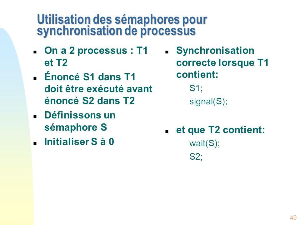 40 Utilisation des sémaphores pour synchronisation de processus n On a 2 processus : T1 et T2 n Énoncé S1 dans T1 doit être exécuté avant énoncé S2 da