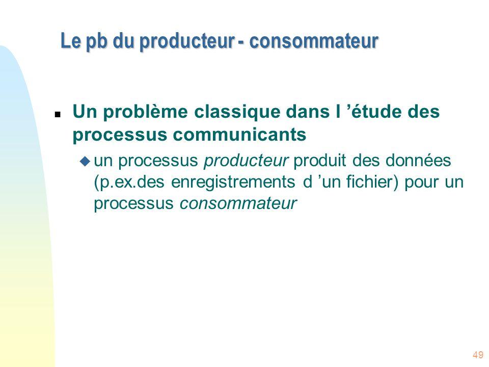49 Le pb du producteur - consommateur n Un problème classique dans l 'étude des processus communicants u un processus producteur produit des données (