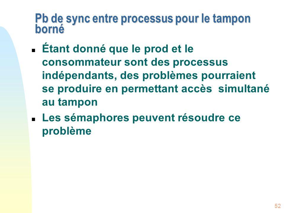 52 Pb de sync entre processus pour le tampon borné n Étant donné que le prod et le consommateur sont des processus indépendants, des problèmes pourrai