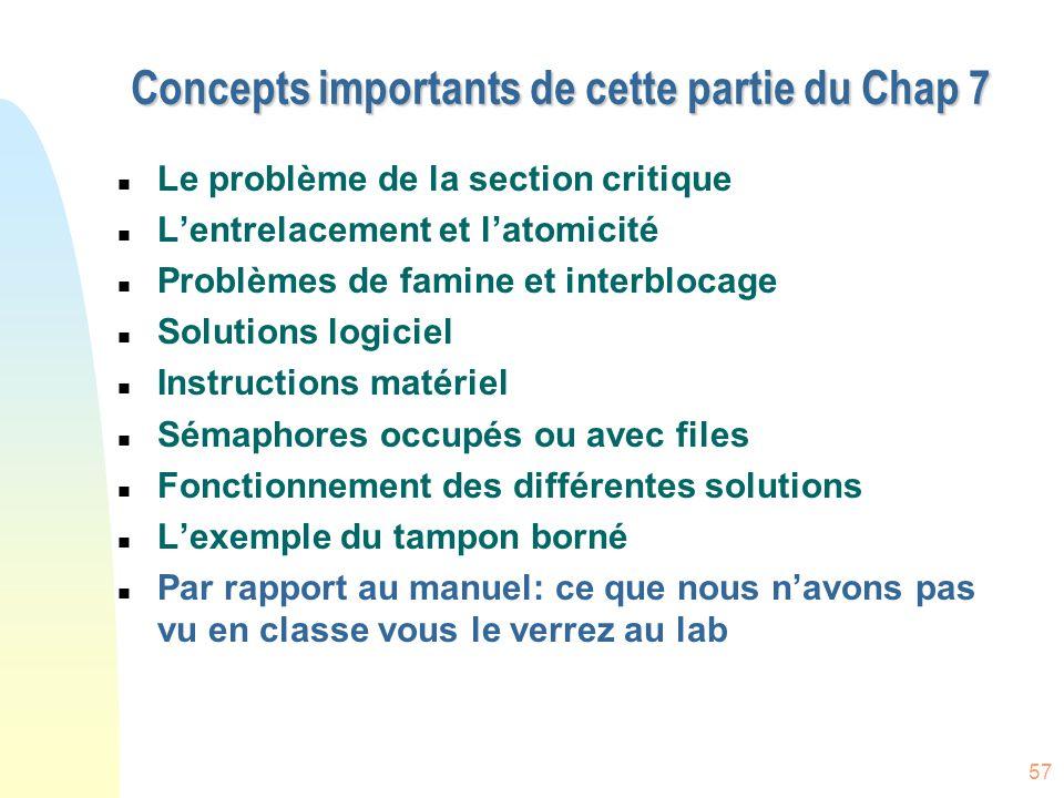 57 Concepts importants de cette partie du Chap 7 n Le problème de la section critique n L'entrelacement et l'atomicité n Problèmes de famine et interb