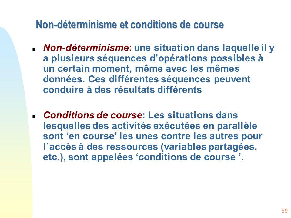59 Non-déterminisme et conditions de course n Non-déterminisme: une situation dans laquelle il y a plusieurs séquences d'opérations possibles à un cer