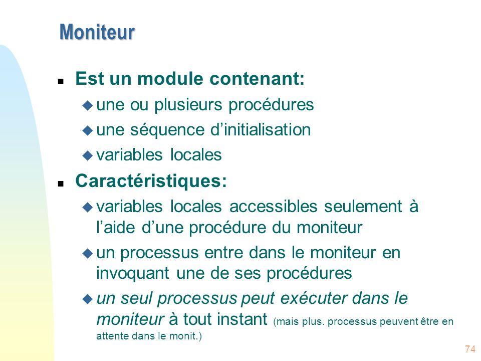 74 Moniteur n Est un module contenant: u une ou plusieurs procédures u une séquence d'initialisation u variables locales n Caractéristiques: u variabl