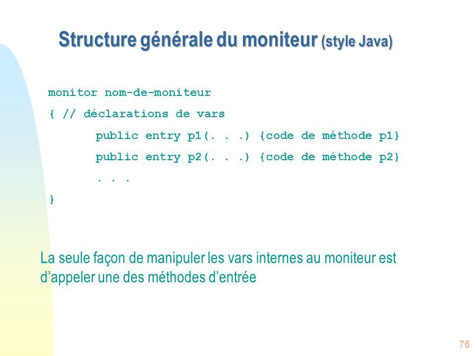 76 Structure générale du moniteur (style Java) La seule façon de manipuler les vars internes au moniteur est d'appeler une des méthodes d'entrée monit