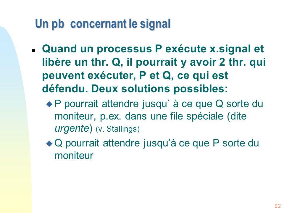 82 Un pb concernant le signal n Quand un processus P exécute x.signal et libère un thr. Q, il pourrait y avoir 2 thr. qui peuvent exécuter, P et Q, ce