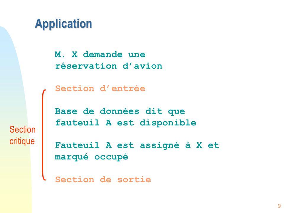 9 Application M. X demande une réservation d'avion Section d'entrée Base de données dit que fauteuil A est disponible Fauteuil A est assigné à X et ma
