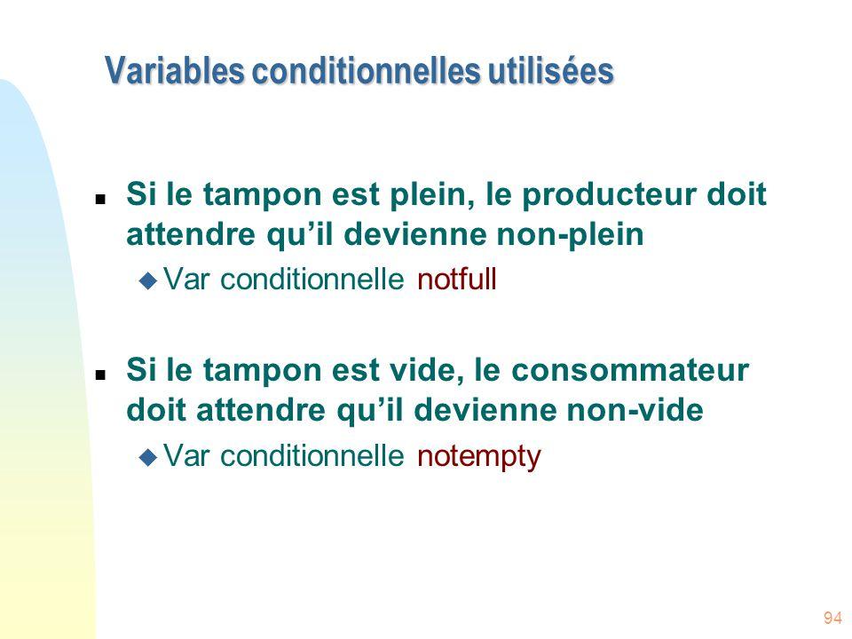 94 Variables conditionnelles utilisées n Si le tampon est plein, le producteur doit attendre qu'il devienne non-plein u Var conditionnelle notfull n S